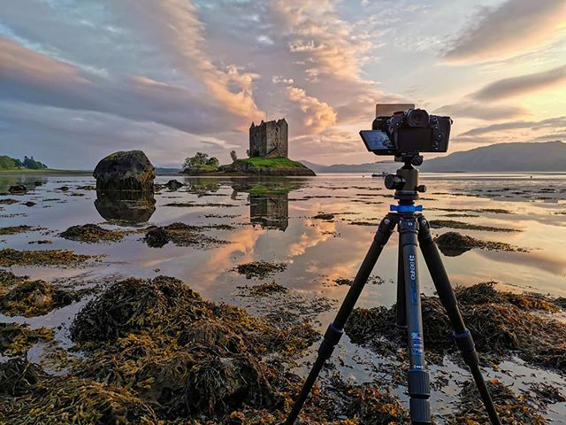 A BTS shot from our first evening in Scotland at Castle Stalker. With only a couple of hours sleep over the previous 40hrs the sunset colours certainly made up for it.