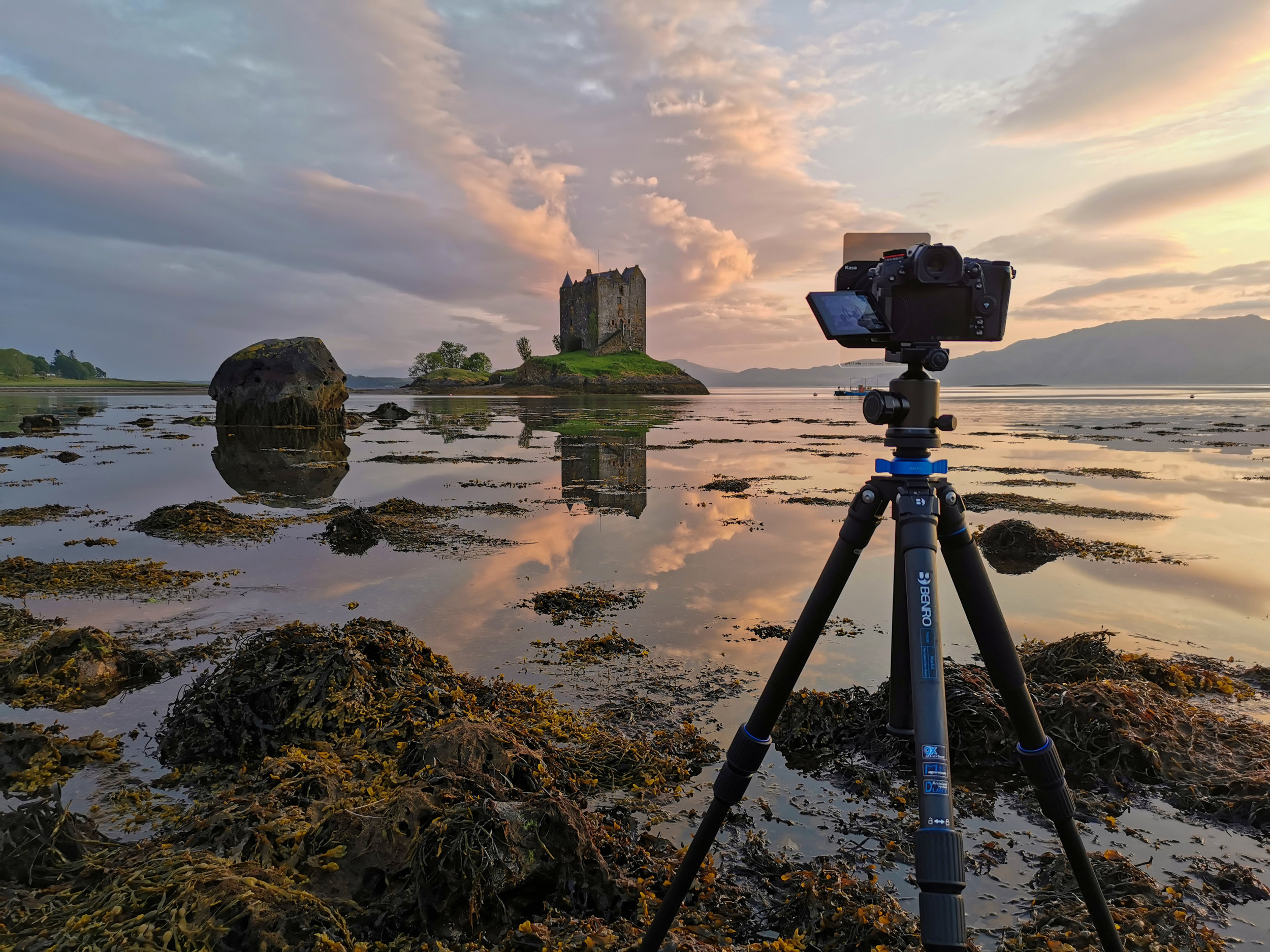Setup and waiting for the colour to pop at Stalker Castle, Scotland