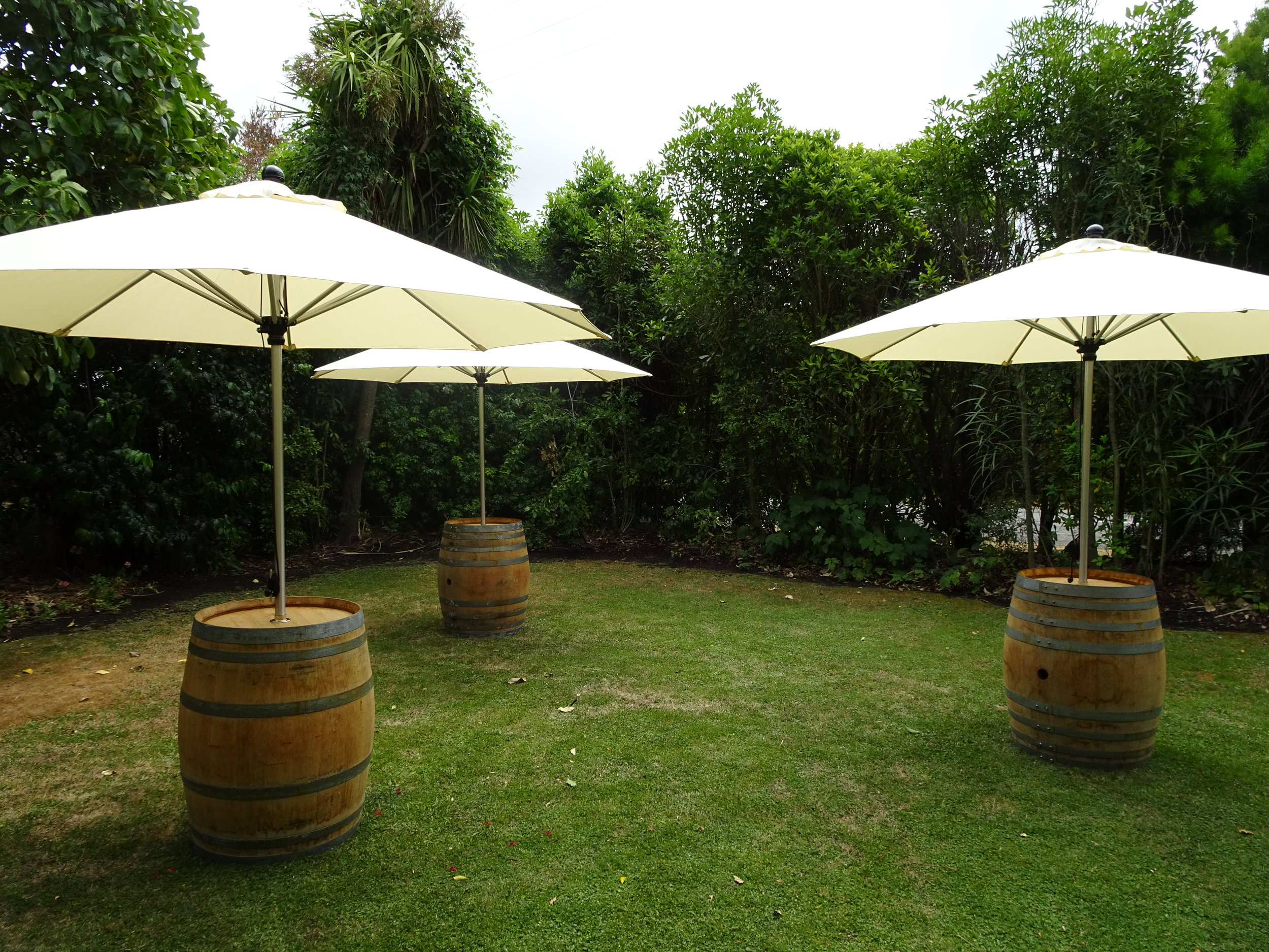 Market Umbrellas & Barrel Stands - Hire Umbrella $40 +GST, Barrel Stand $30 +GSTA stunning shade option for your event, providing additional space to rest your drinks. 12 umbrellas and 6 barrel stands available.Black Concrete Umbrella Stands also available for $10 +GST each or use our Wool Press Bar Leaners to hold the umbrellas.