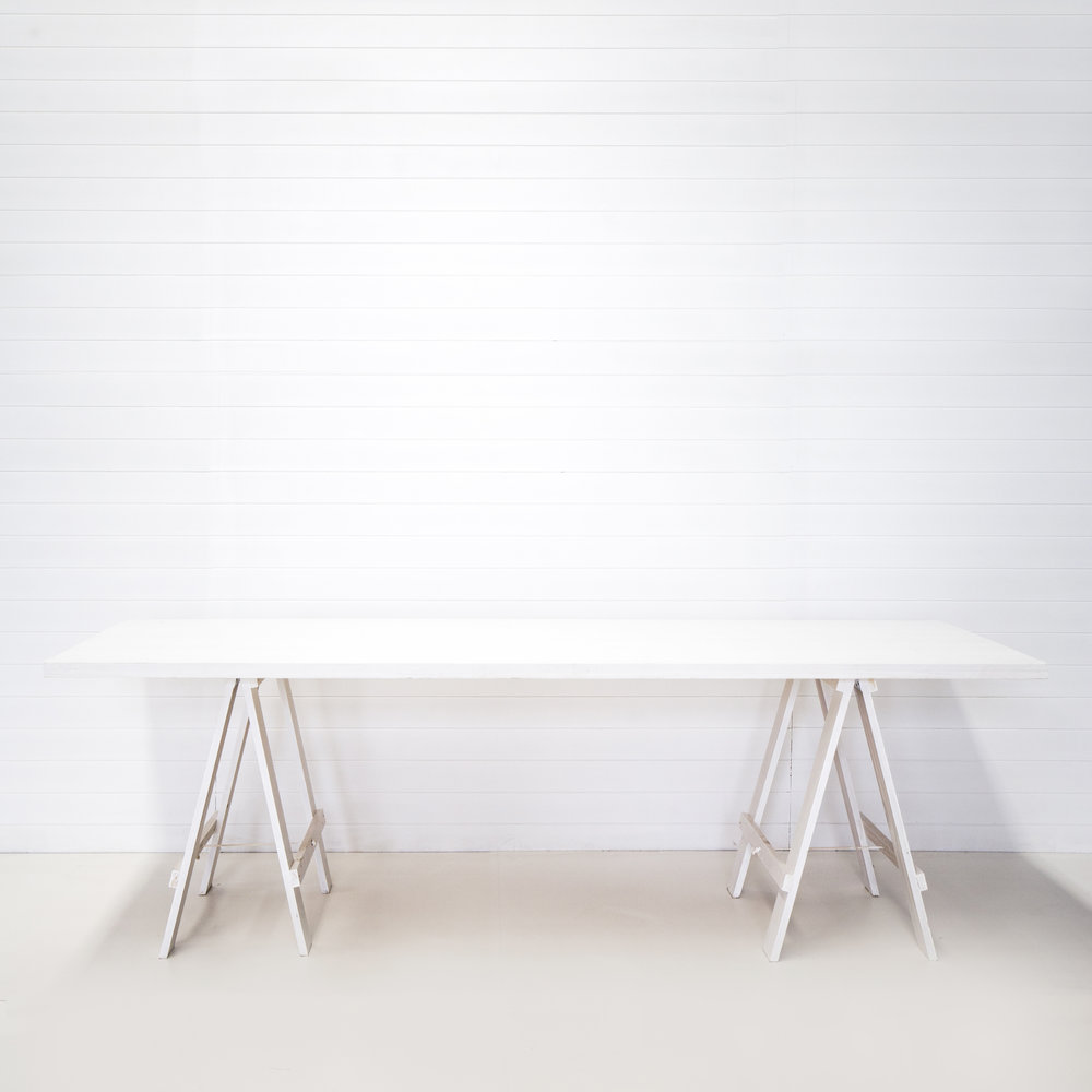 GK White Rustic Trestle Table