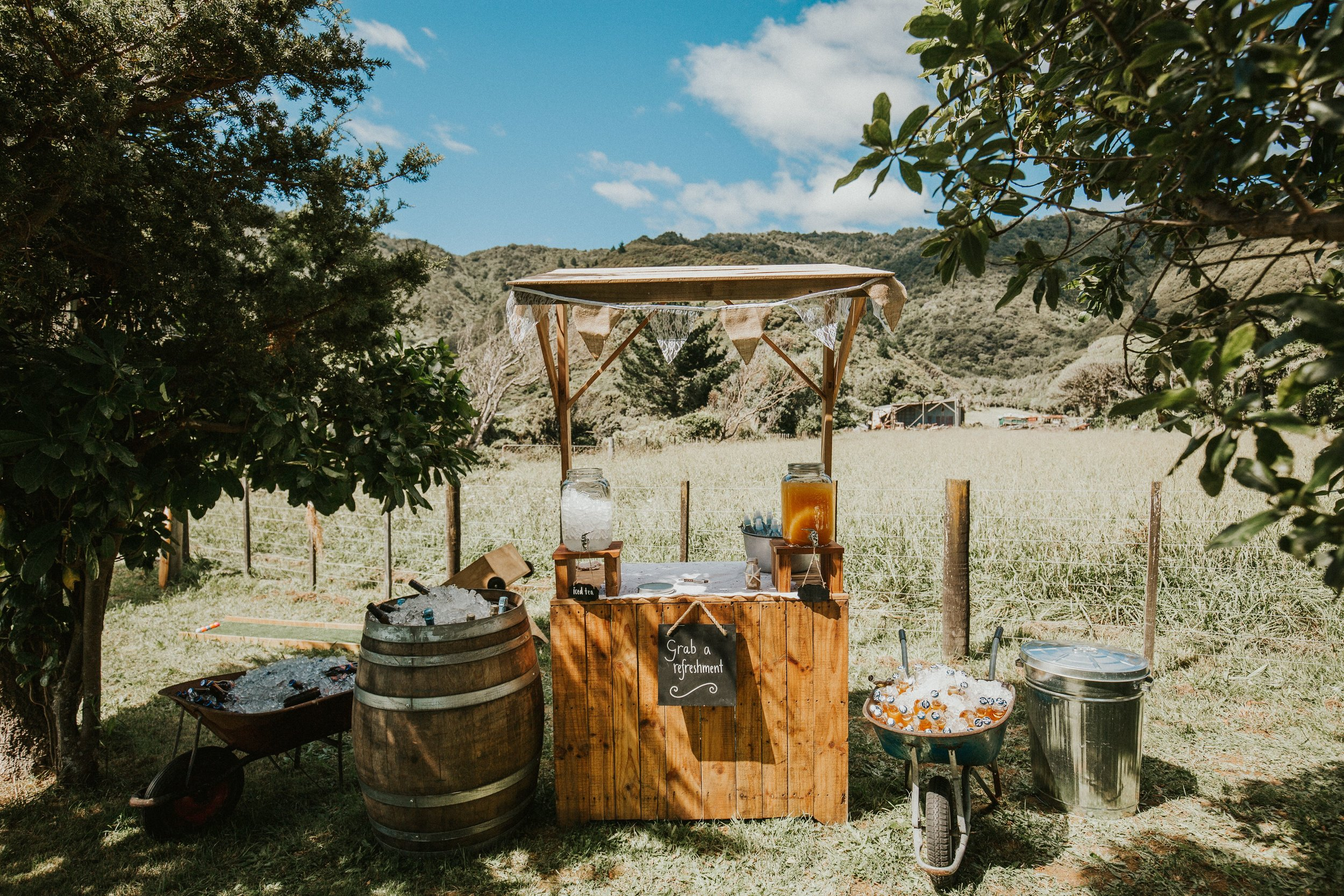 GK Events Hire Drinks Station Rustic Stand Copper Barrels