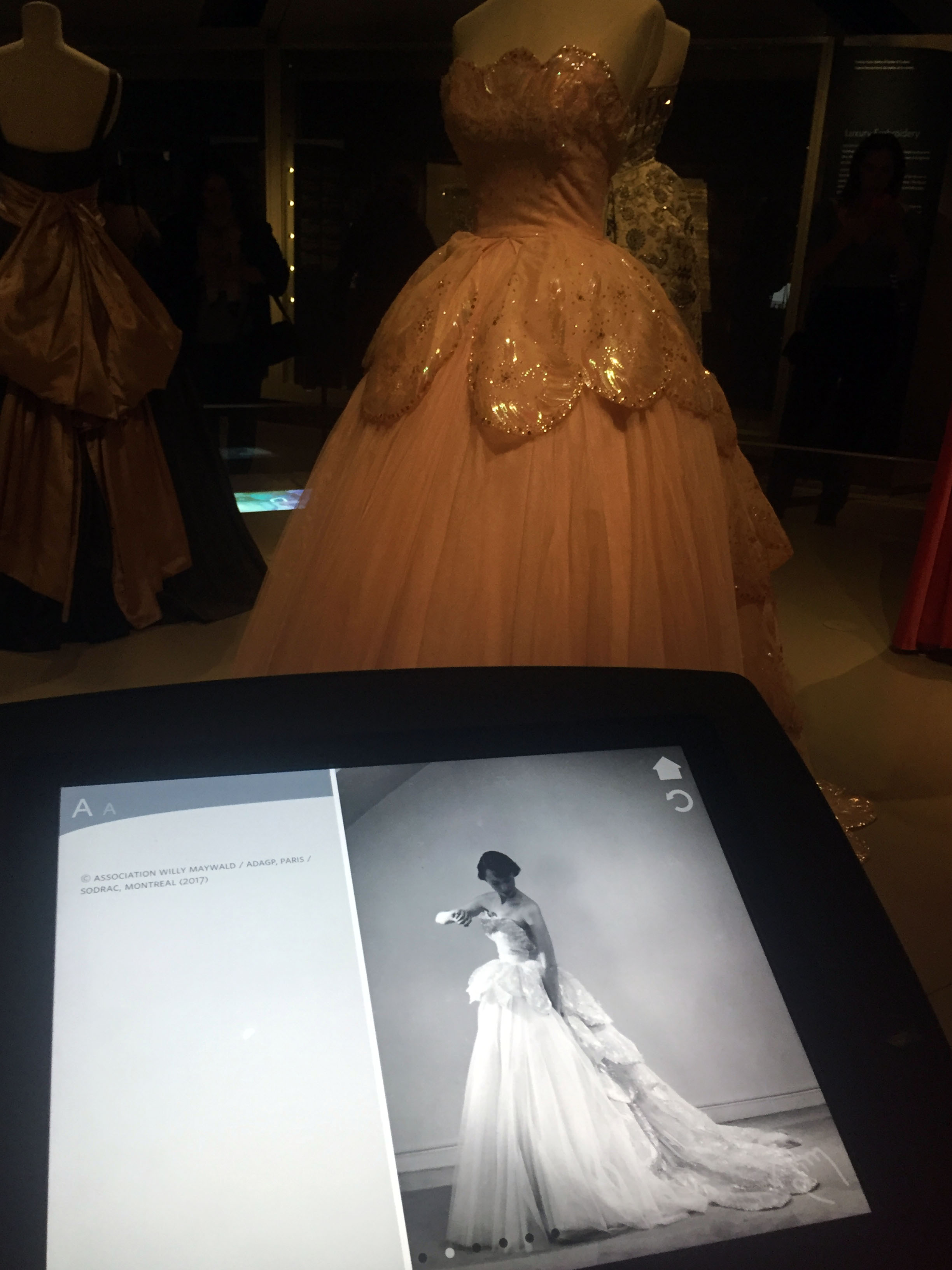 Device displaying information about a particular dress on display.