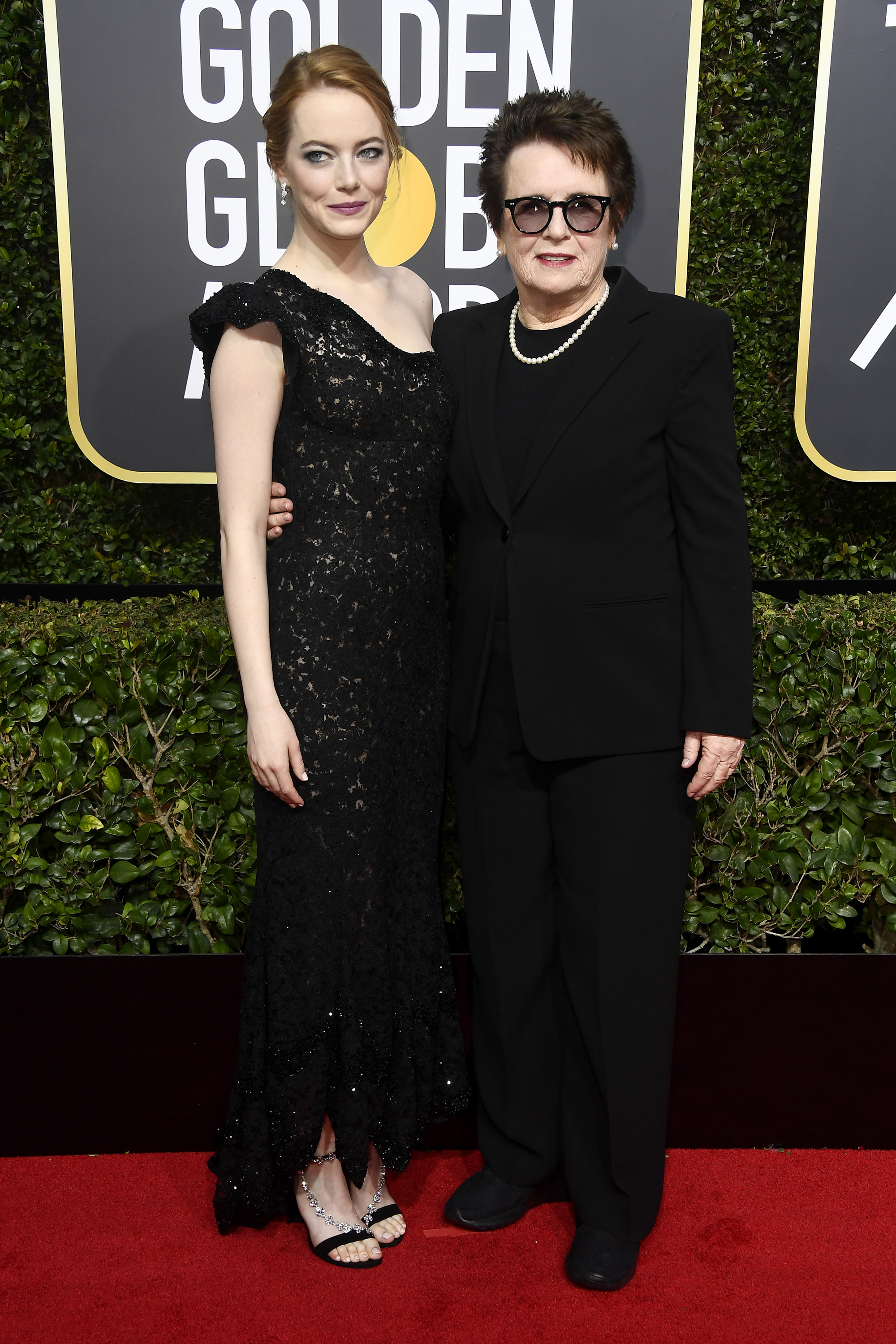 Emma Stone in the very same custom Louis Vuitton Dress. - Emma Stone and Billie Jean at the Golden Globes in 2018.