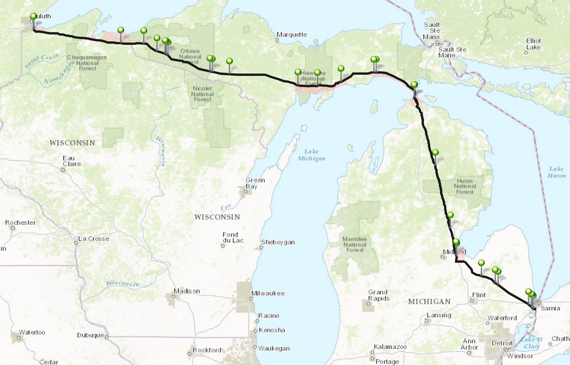 Line 5 oil spill map