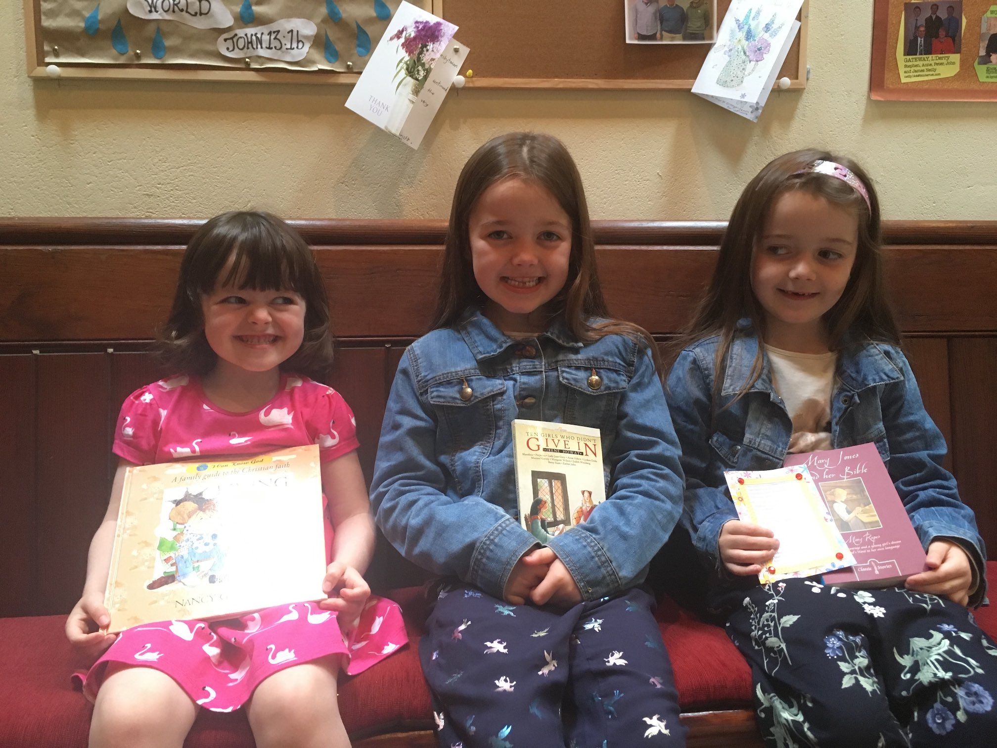 Some of the girls from our Sunday School with their books.