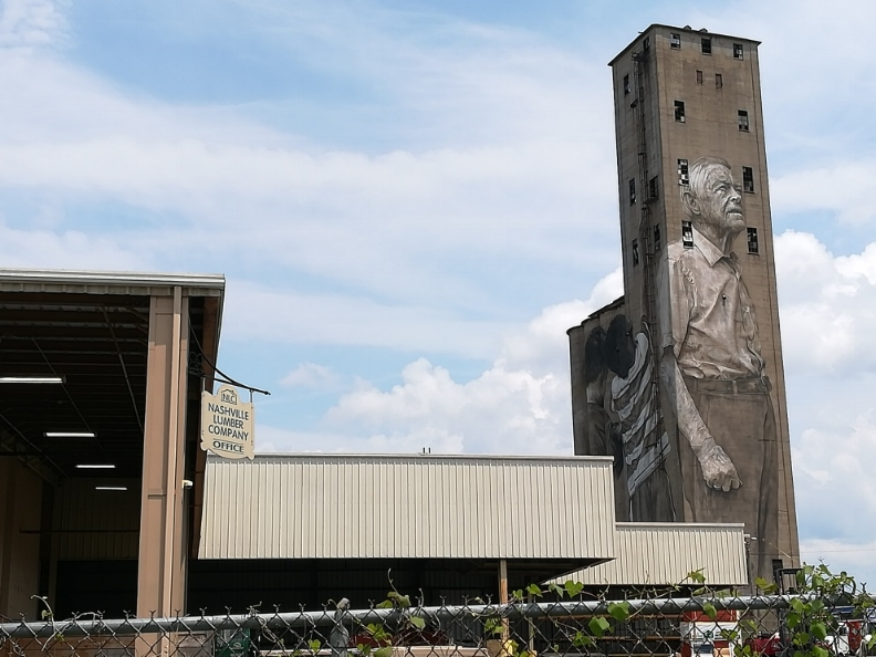 The owner of the grain silo was painted on the side. The Nations, Nashville