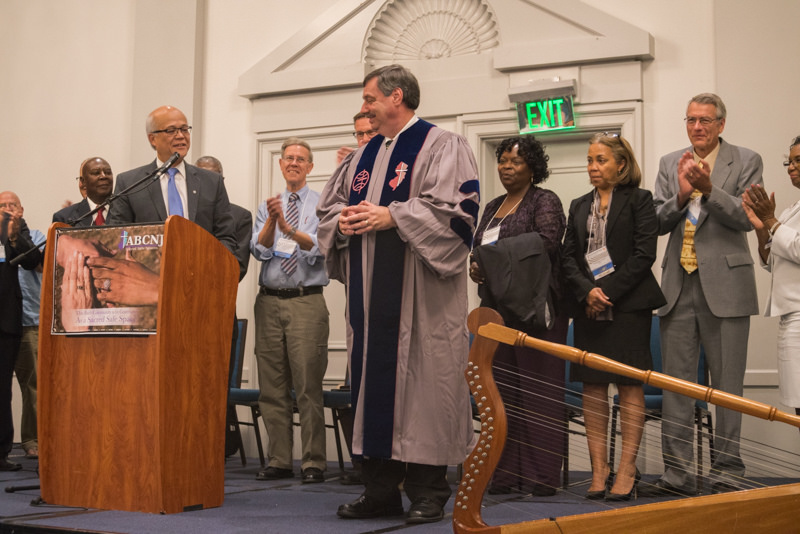 Dr. Spitzer was presented with a clergy robe, bearing the logos for both ABCNJ and ABCUSA,  at ABCNJ's Annual Session.