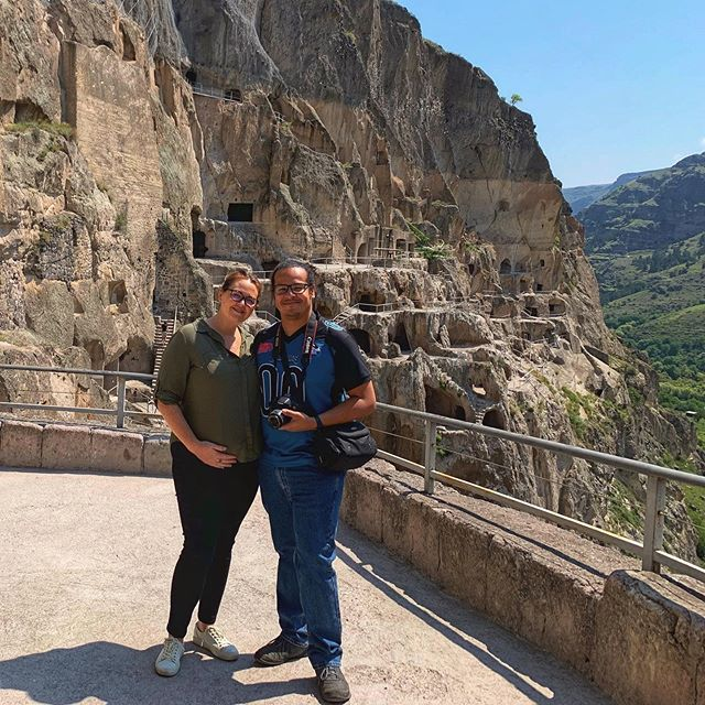 We decided to take a break from Tbilisi this weekend and visited #ვარძია (Vardzia). It's a cave town about 3.5-4 hours drive from Tbilisi and was one of the top things I wanted to see when we found out we were moving here. I was not disappointed, and definitely recommend a visit if you find yourself in #georgiathecountry. . . . #vardzia #vardziacave #საქართველო #spendyoursummeringeorgia #travel #travelingwhilepregnant #pregnantlife #pregnanttraveler #gltlove #travelblogger #travelblog #blueskies #glt #sakartvelo #cavetown #caves #travelphotography #georgia🇬🇪 #ladiesgoneglobal #travelgram #traveltheglobe #coupletravel #georgiatravel #traveltheworld #traveleurope #travelasia #mountains #travelingthroughouttheworld