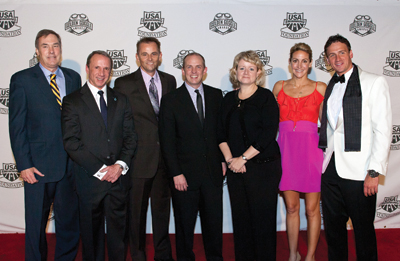 Chuck Wielgus, with Marriott's Randy Griffin and Joanna Todd, former Speedo President Jim Gerson, USA Swimming CMO Matt Farrell and Olympic gold medalists Summer Sanders and Ryan Lochte at the Golden Goggles in 2011 // USA Swimming