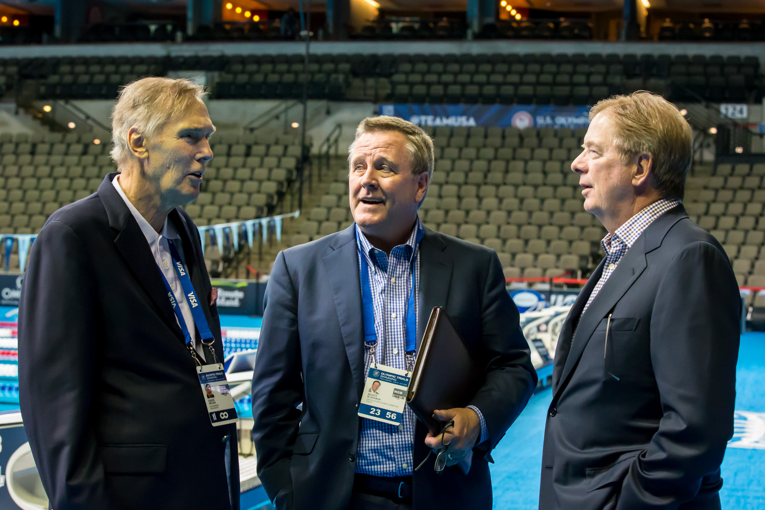 Omaha 2016: Wielgus on deck with USOC chief executive Scott Blackmun and board chair Larry Probst // USA Swimming