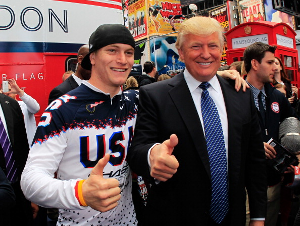 Connor Fields, who would go on to win BMX gold in Rio in 2016, with Donald Trump in Times Square at a pre-London 2012 Team USA publicity event // Getty Images
