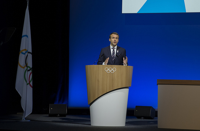 French president Emmanuel Macron at Tuesday's IOC assembly // IOC