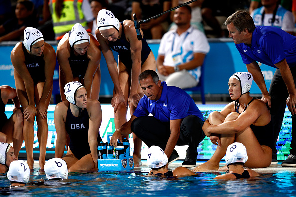 Krikorian speaking with the U.S. team during the gold-medal game // Getty Images