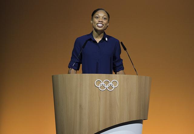 Felix addressing the IOC in Switzerland in July on behalf of the LA bid campaign // Flickr