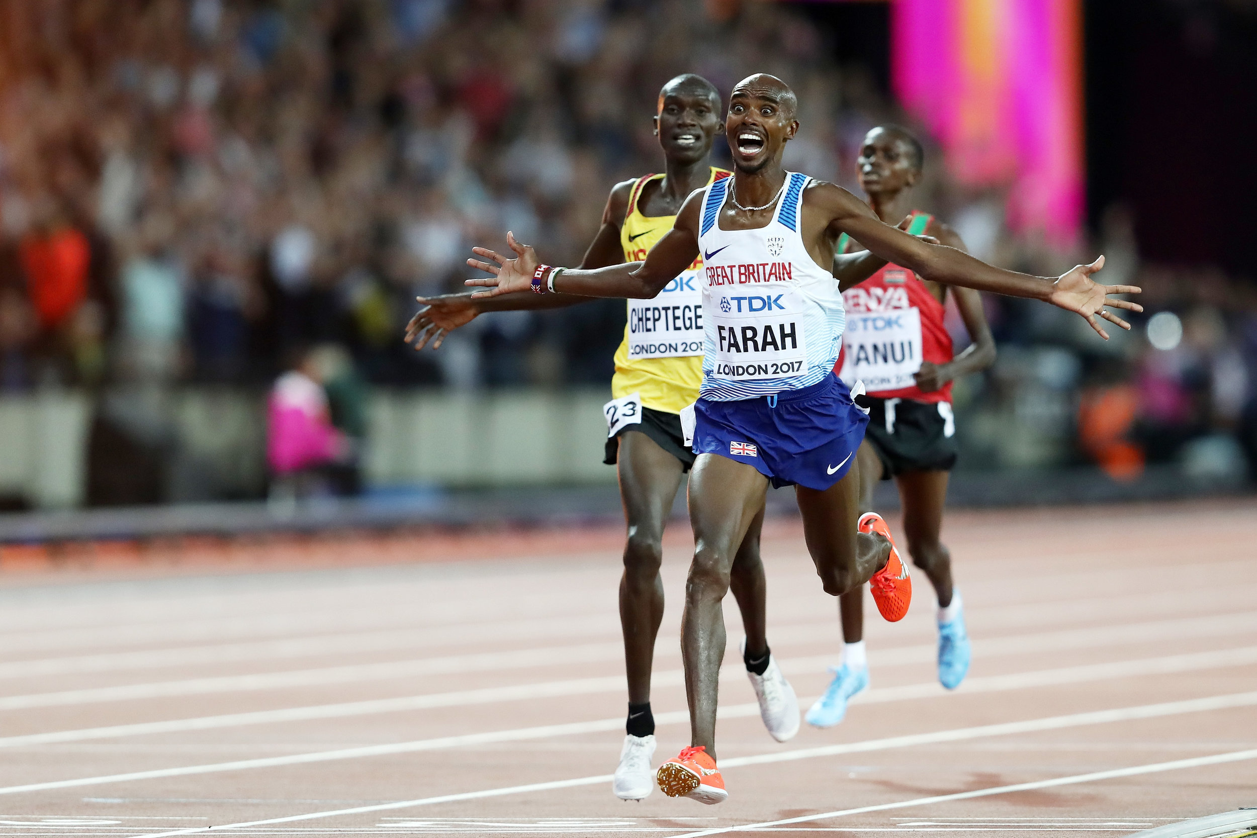 Britain's Mo Farah at the finish line of the men's 10k // Getty Images for IAAF