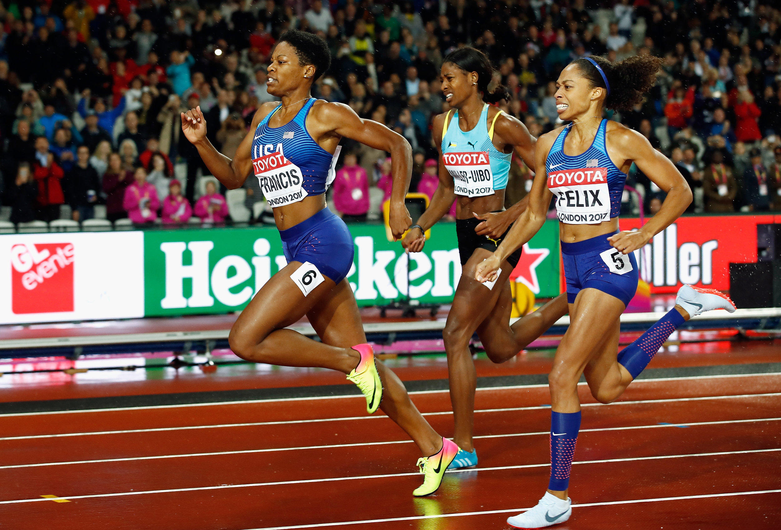 Phyllis Francis, Shaunae Miller-Uibo and Allyson Felix on the homestretch // Getty Images for IAAF