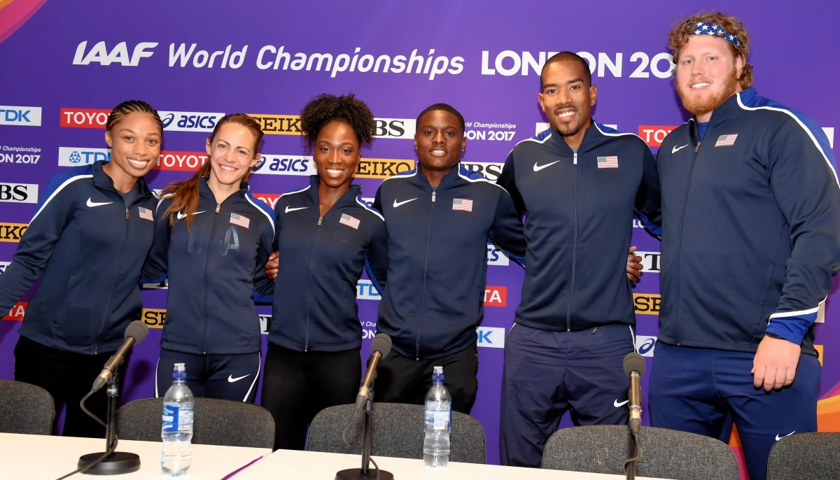 Left to right at Thursday's pre-meet news conference: Allyson Felix, Jenny Simpson, Tianna Bartoletta, Christian Coleman, Christian Taylor, Ryan Crouser // Errol Anderson