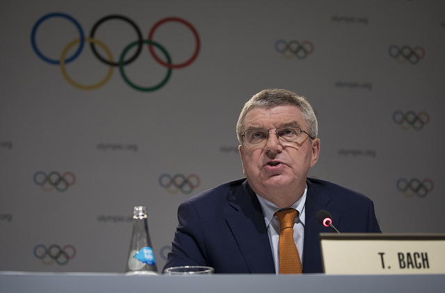 IOC president Thomas Bach at a Lima news conference // IOC media