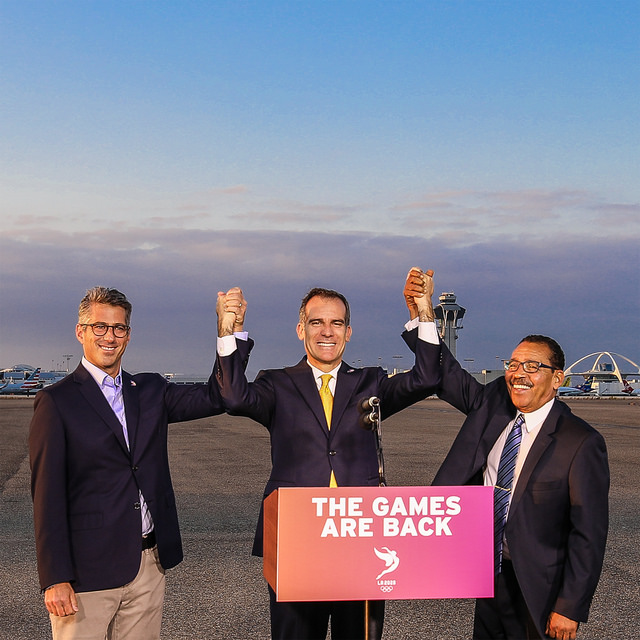 Casey Wasserman, Eric Garcetti, Herb Wesson on the LAX tarmac // Flickr