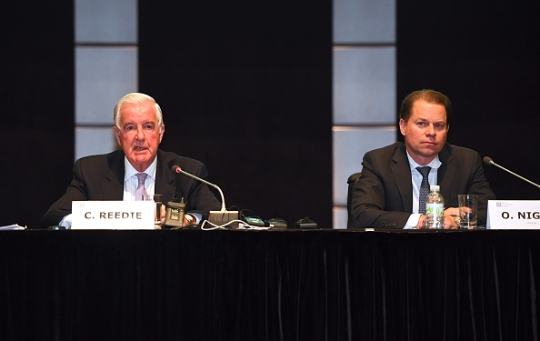 WADA president Craig Reedie and director general Olivier Niggli at Thursday's news conference in Seoul // Getty Images
