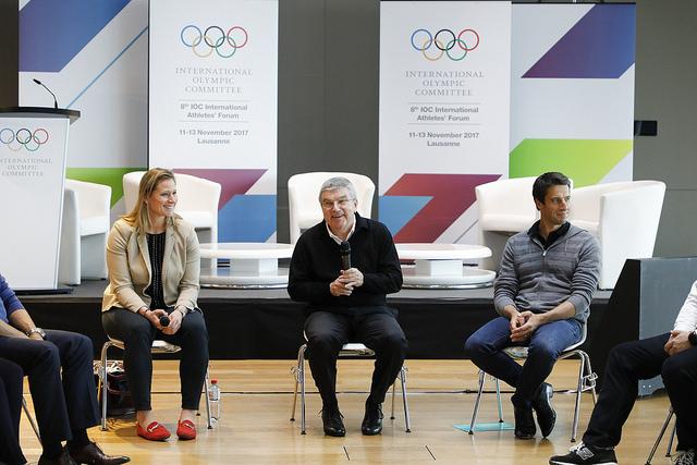 Angela Ruggiero and Tony Estanguet with president Thomas Bach at the IOC athletes'forum // IOC