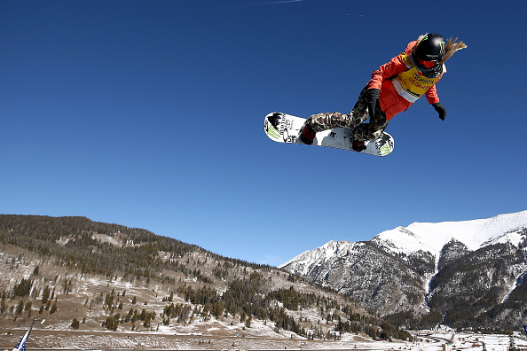 Chloe Kim flying to victory last month in Colorado // Getty Images