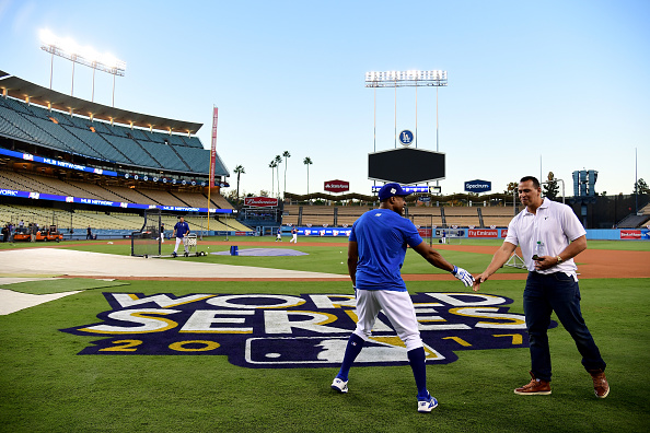 Curtis Granderson of the Los Angeles Dodgers and Alex Rodriguez at last fall's World Series // Getty Images