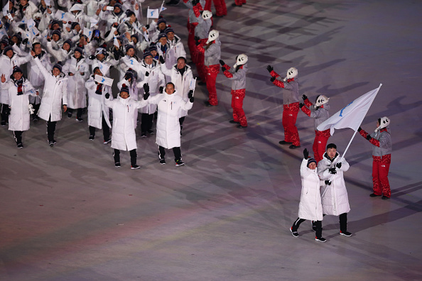 The unified Korean delegation marching into Olympic Stadium // Getty Images