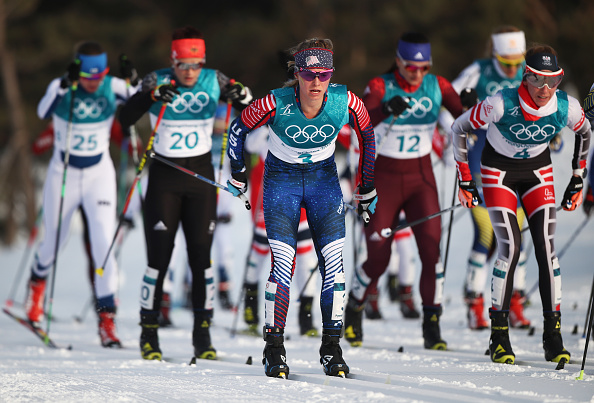 Jessie Diggins (No. 3) in Saturday's skiathlon // Getty Images
