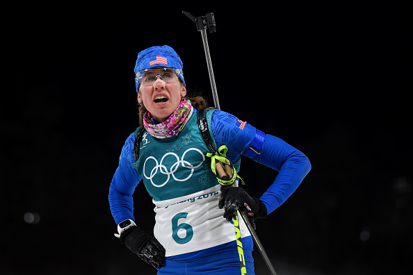 The American biathlete Susan Dunklee in action Saturday // Getty Images