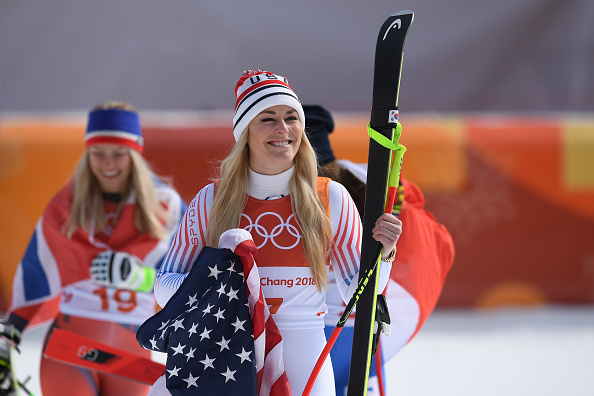 Lindsey Vonn after winning her third Olympic medal // Getty Images