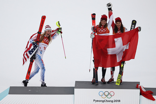 Mikaela Shiffrin celebrating her silver in the Olympic super-combined // Getty Images