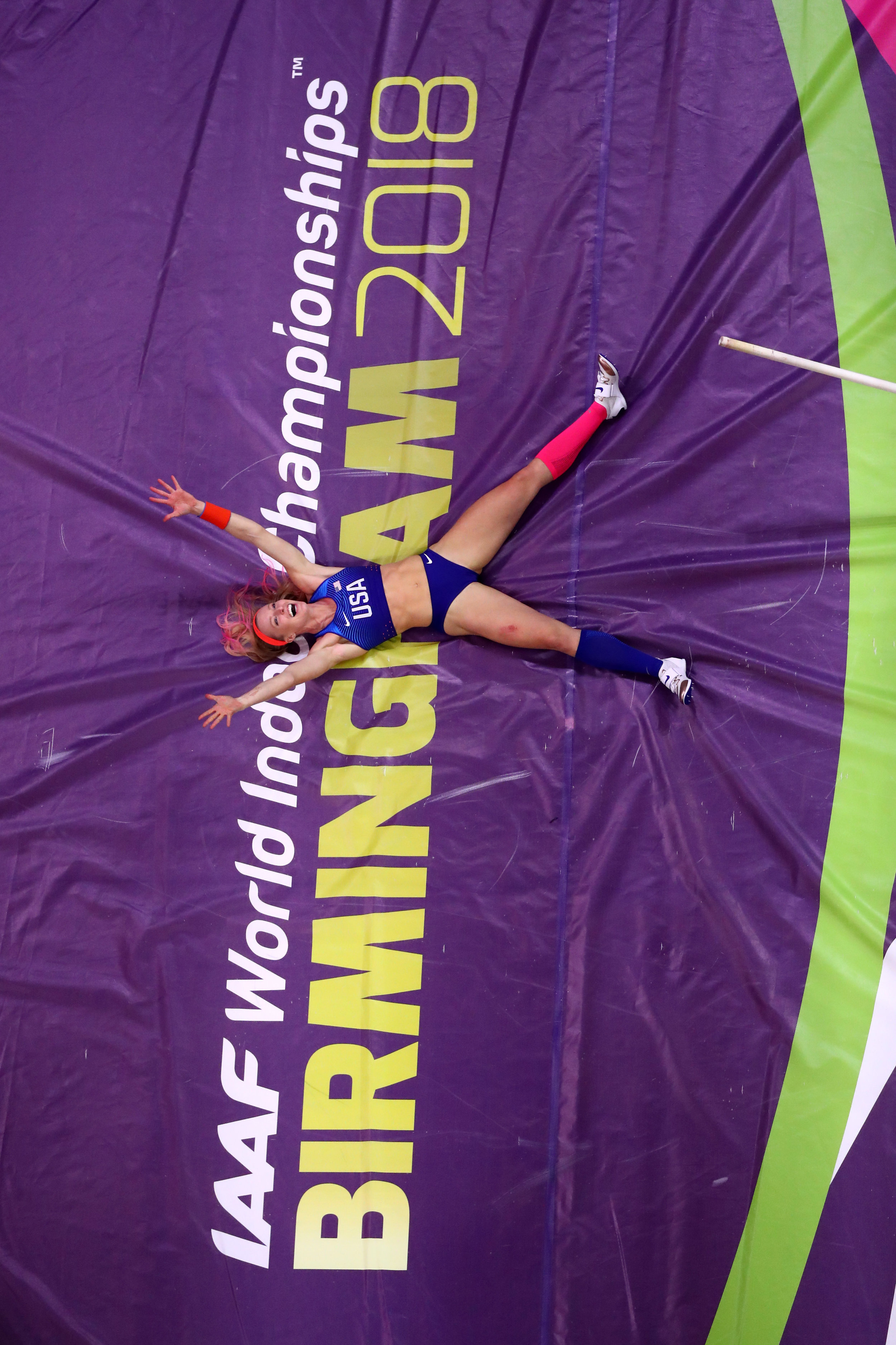 Sandi Morris celebrating a big clearance in the pole vault //Michael Steele/Getty Images for IAAF