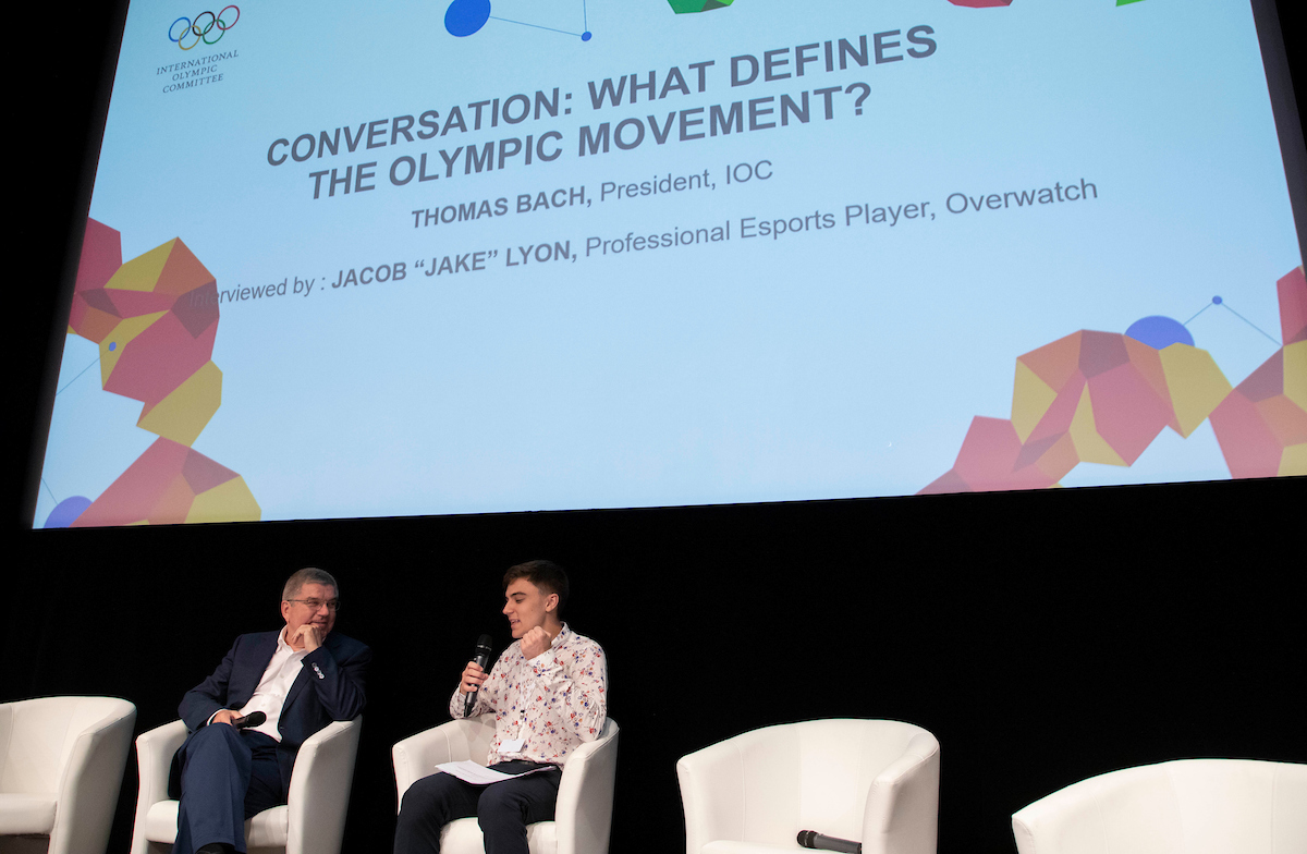 IOC president Thomas Bach and Jake Lyon, esports professional // IOC/Flickr