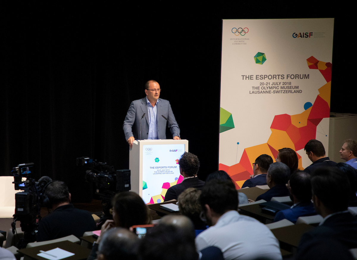Patrick Baumann, in his GAISF role, opens the forum // IOC/Flickr