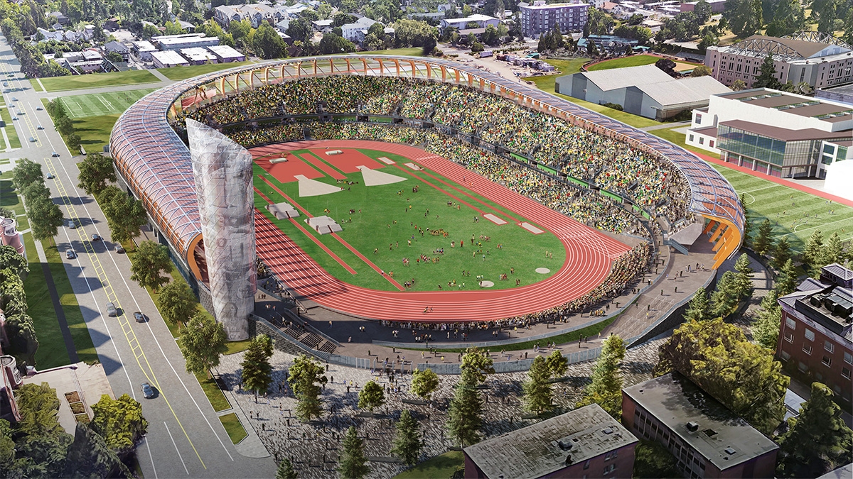 Rendering of the new Hayward Field, now under construction // University of Oregon