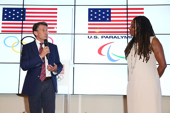 IAAF president Seb Coe and IAAF Council rep Stephanie Hightower at USA House at the 2016 Rio Games // Getty Images