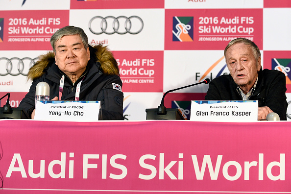 At a 2016 test event with FIS president Gian Franco Kasper // Getty Images