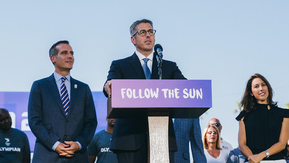 Left to right: LA mayor Eric Garcetti, now-LA28 chairman Casey Wasserman, LA28 athlete relations director Janet Evans // photo LA28