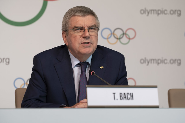 The IOC president at a news briefing last month // IOC