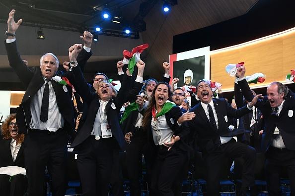'Italia! Italia': Milano-Cortina bid leader Giovanni Malagó, left, at the moment of victory // Getty Images