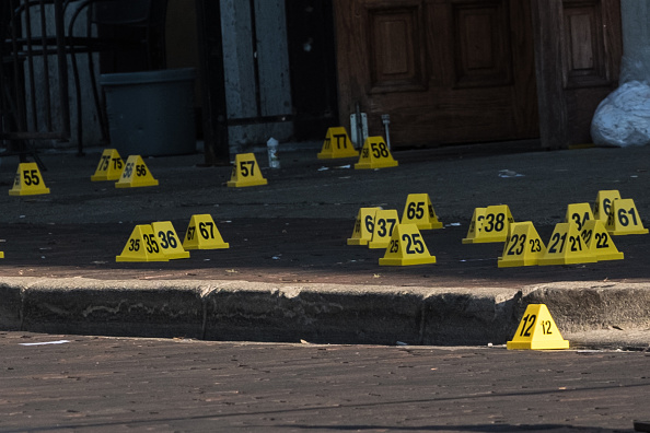 Police marked evidence at the scene, a bar called Ned Peppers // Getty Images