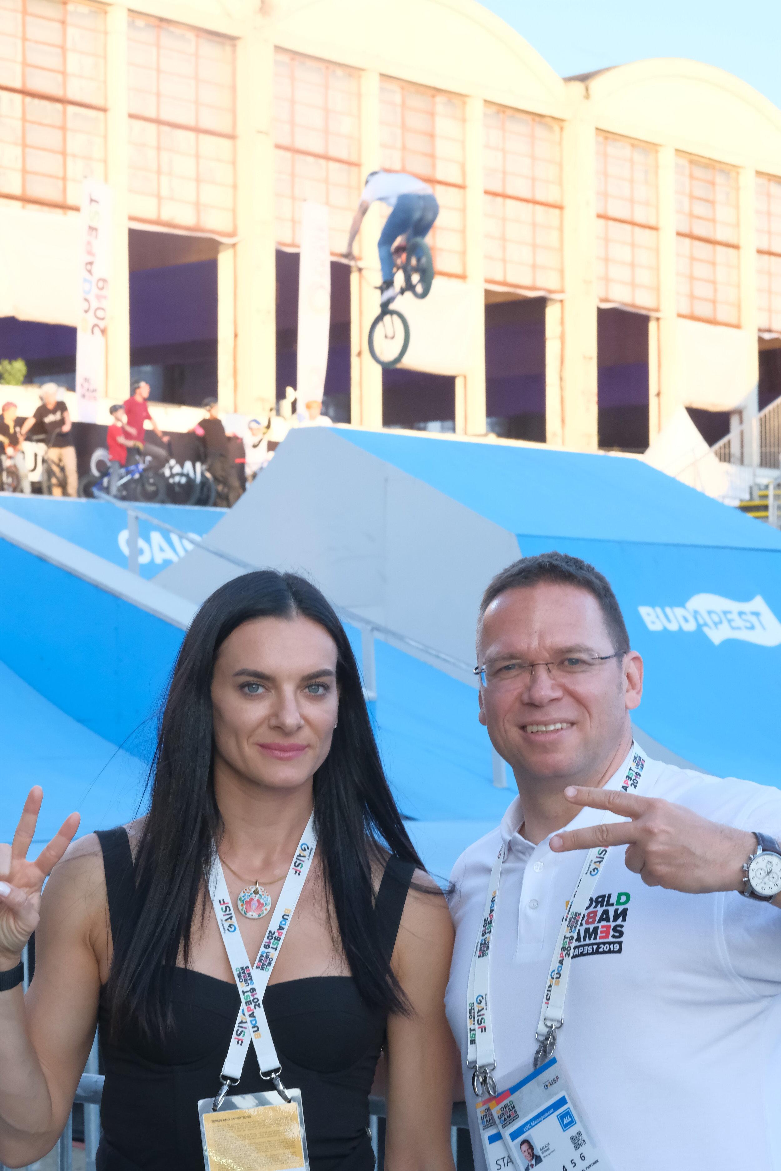 Yelena Isinbayeva and Balazs Fürjes at the World Urban Games BMX Freestyle venue // photo by ODPictures