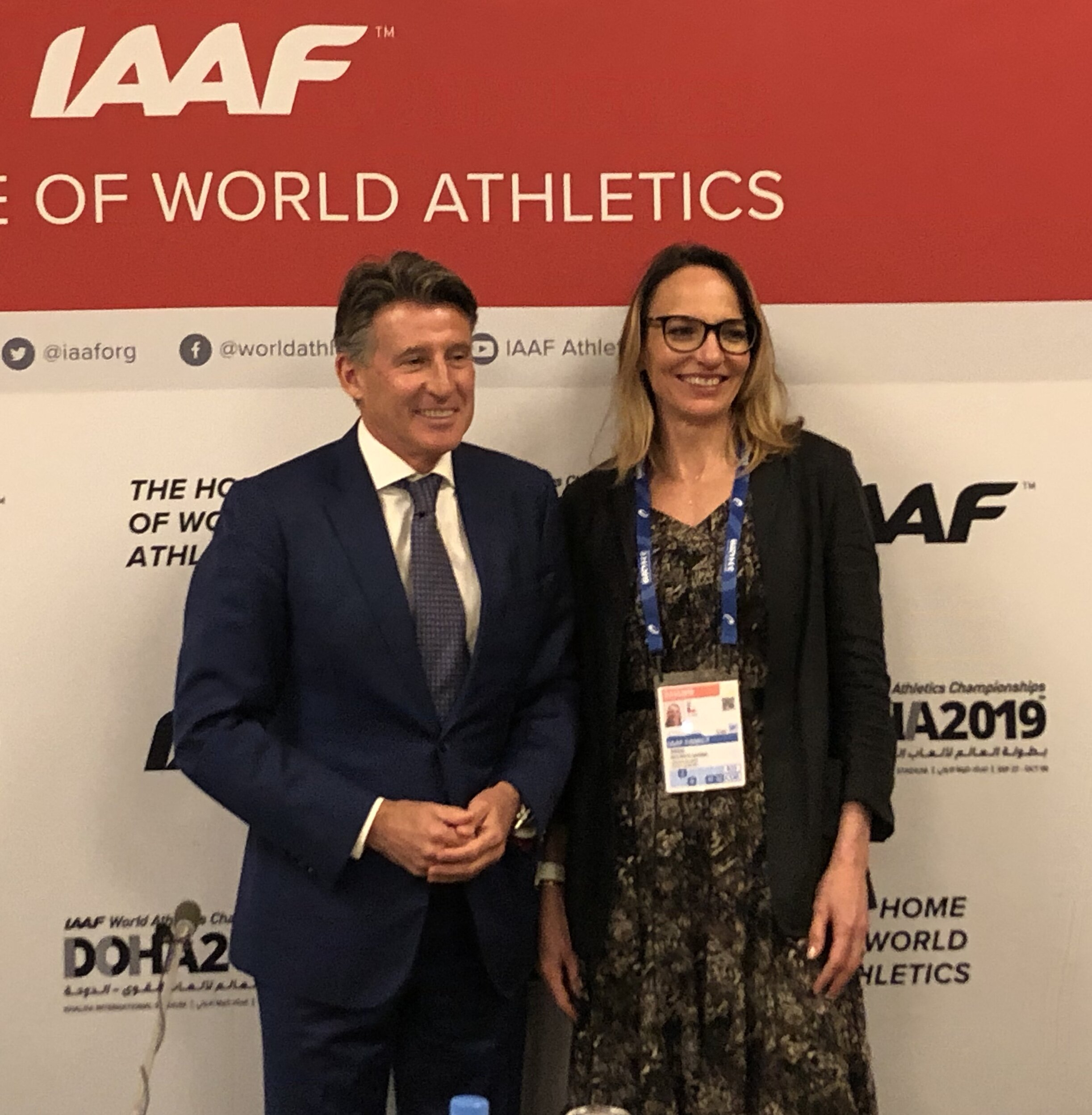 IAAF president Seb Coe and newly elected vice president Ximena Restrepo