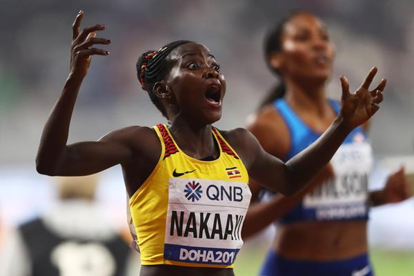 Uganda's Halimah Nakaayi wins the women's 800 // Getty Images