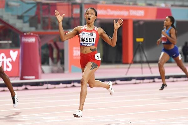 Salwa Eid Naser of Bahrain winning the women's 400 in the fastest time run in 34 years, 48.14 // Getty Images
