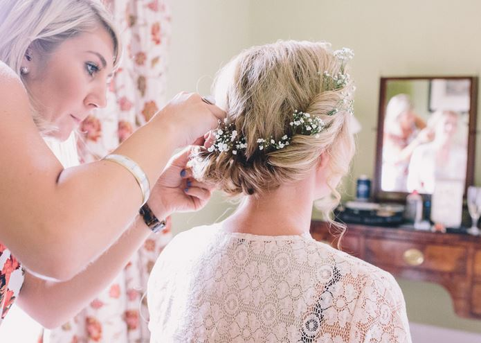 Gypsophila adorned bridal hair