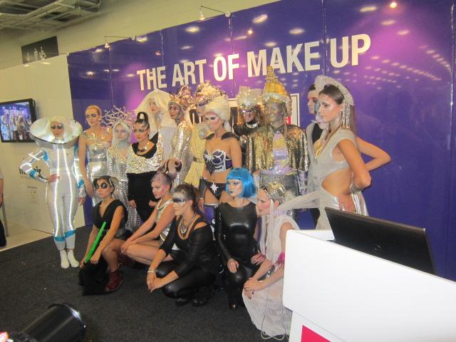 'Futuristic' models assembled, Olympia Beauty Art of Make-up, London 2014