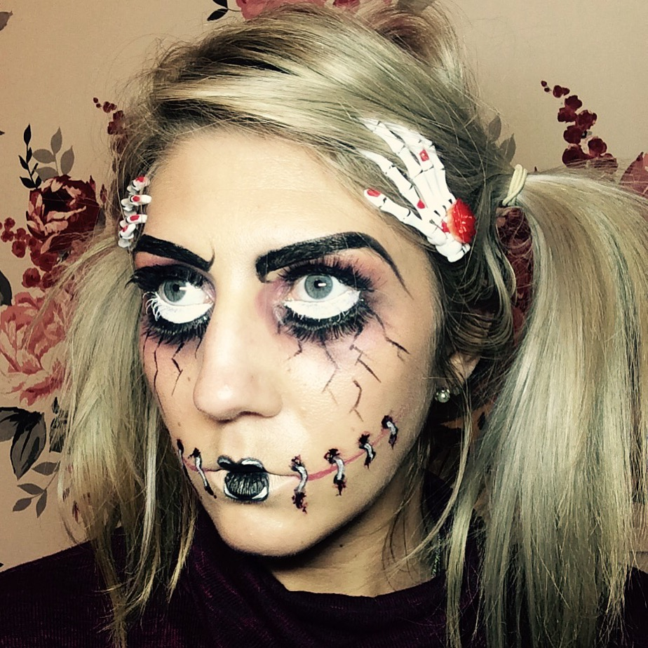 Broken-doll halloween make-up as featured in House of Fraser online