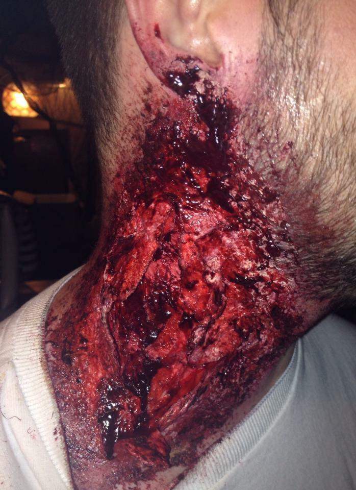Zombie neck wound special effects make-up